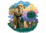 St Francis with Cats Greeting Card