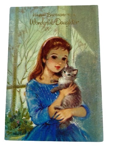 Vintage Birthday Greeting Card for Daughter Girl with Kitten
