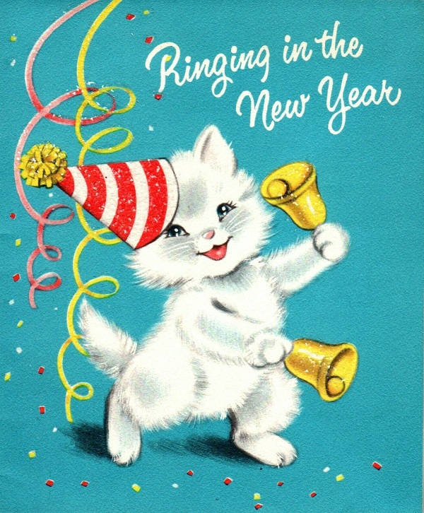 White Cat ringing in the New Year Greeting Card