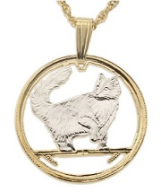 Norwegian Forest Cat Pendant and Necklace for sale by The Difference World Coin Jewelry