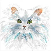 Commissioned Painting of a cat named Pipkin by artist Karen Thomas